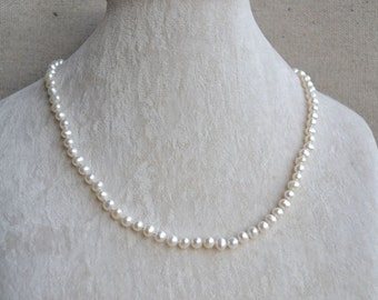 White pearl necklace,5-6mm Freshwater Pearl Necklace,Wedding flower girl necklace,children necklace,kid necklace,little girl necklace