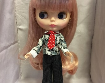 One White Lily Elvis Print Blythe Shirt Pants Hat Set