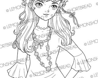 Digital Stamp Flower Power Girl, Digi Download, Summer Spring, 60s Fashion Floral, Coloring Page, Retro Style Clip Art Scrapbooking Supplies