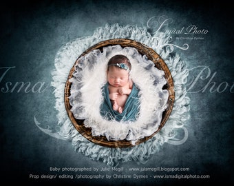 Digital backdrop - Handmade wooden bowl with wool  - Beautiful Digital background for Newborn Photography - Props download