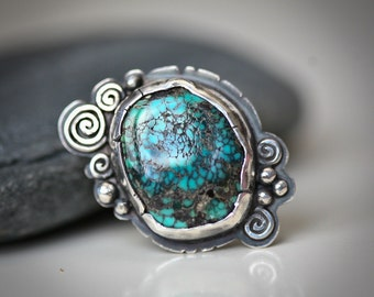 Turquoise Swirls - Sterling Silver Ring