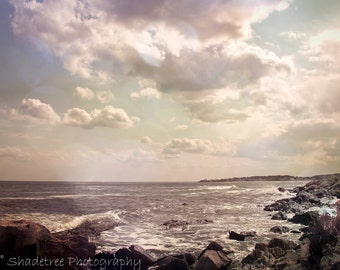 Ocean Photography Clouds Sky Sea Vintage Feel Beach Blue White Gray Grey, Fine Art Print
