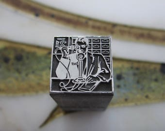 Man on the Telephone Vintage Letterpress Printers Block Metal