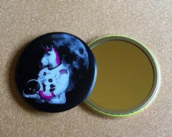 2.25 Inch Unicorn Purse Mirror - Roller Skating Unicorn Astronaut Mirror - Roller Derby, Pocket Mirror, Compact Mirror, Unicorn Mirror