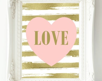 Nursery Art Printable, Pink Gold Nursery Decor, Instant Download, LOVE Print, Baby Gift, New Mom Gift, Nursery Wall Art, Baby Girl Nursery