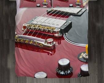 Custom Design Gibson Bed Set. Guitar Player Gift.