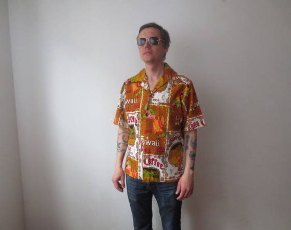 Vintage  60s Sears Hawaii Label Mauna Kea Kona Coffee Hawaiian Shirt ... 561610284e6c7