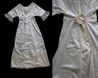 Antique 1890's 1900's Victorian Beaded Soutache Cream Colored Dress, Silk Faille and Lace, Formal Dress, Women's, Edwardian Wedding