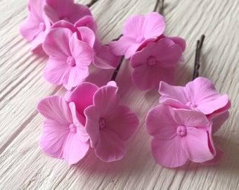 Hair bobby pin polymer clay flowers. Set of 5. Pink hydrangea - 5 with 3 flowers