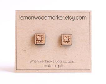 Quilter earrings - alder laser cut wood earrings - Quilt earrings