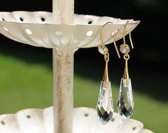Beautiful Quality Crystal Earrings, Gold-Filled Earwires, Victorian, Civil War Appropriate - Affordable Elegance