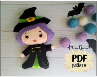 Witch pattern Halloween ornament Witch DIY felt ornaments Halloween patterns DIY Halloween ornaments Witch Halloween craft Felt sewing