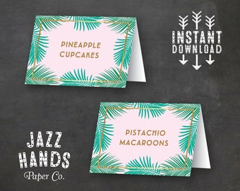 Tropical Food Labels | DIY Printable | Birthday Party | Tropical Bridal Shower | Baby Shower | Pineapple | Palms | Luau | Buffet Labels