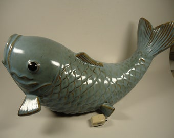 Large blue ceramic fish