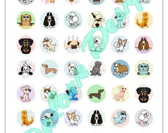 25 mm, Chiens, Collage, Planche d'Images Digital - Doggies - pour cabochons ronds 25 mm