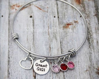 Family Tree Bracelet - Charm Bracelet - Great Grandma Bracelet - Adjustable Bangle - Birthstone Bracelet - Charm Bracelet - Gigi - Nana