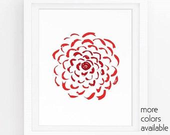 Red floral wall art, Red flower painting, Chrysanthemum, Peony print, Zinnia, Modern rustic decor, Farmhouse chic, 5x7, 8x10, 11x14  231d