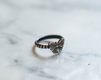 silver ring oxidized Sterling stacking ring to stack, butterfly, gypsy, Bohemian, cute