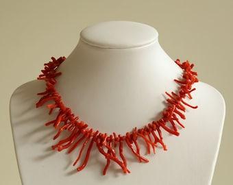Vintage Red Branch Coral Necklace ca 1950s