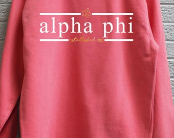 Alpha Phi Comfort Color Sweatshirt with Press on Design