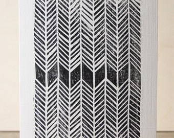 Herringbone Woodcut Greetings Card