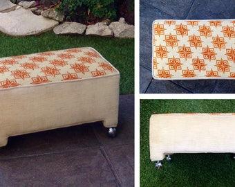 Vintage Ottoman Midcentury Star Compass Footstool Bench Hassock Stool Seat Beige Orange Needlepoint Ultrasuede Caster MCM Minimalist Antique
