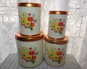 Set of 4 Vintage Colorware Red Yellow Floral Cottage Garden Farmhouse Copper Lid Retro Canister Set