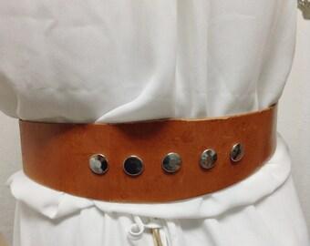 Studded Leather belt, Boho Belt ,Brown,leather belt