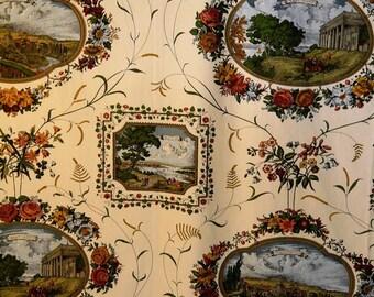 18th Century Scenics - vintage fabric - Mount Vernon - NY - Philadelphia - Washington - J.H. Thorp & Co. - 177 x 57 Inc. (4.50 x 1.45 m)