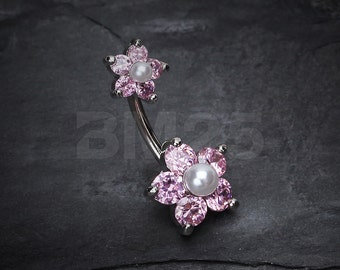 Pearl Bead Flower Sparkle Belly Ring - Pink