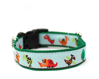 "3/4"" Dog Collar Dino Land martingale or buckle collar"