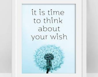 Dandelion Wall Art, Dandelion Wish Quote, Make a Wish, Dandelion Print, Inspirational Words, Inspiring Quotes, Boho Room Decor, Teen Art