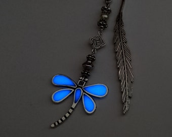 Blue Dragonfly Glow In The Dark Bookmark - Glowing Bookmark