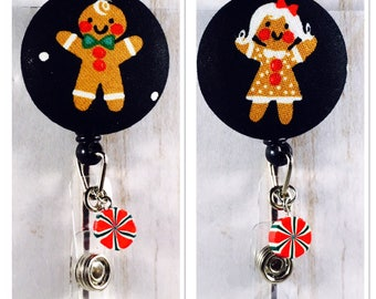 Gingerbread Man & Woman Badge Reel with Peppermint Charm CHRISTMAS