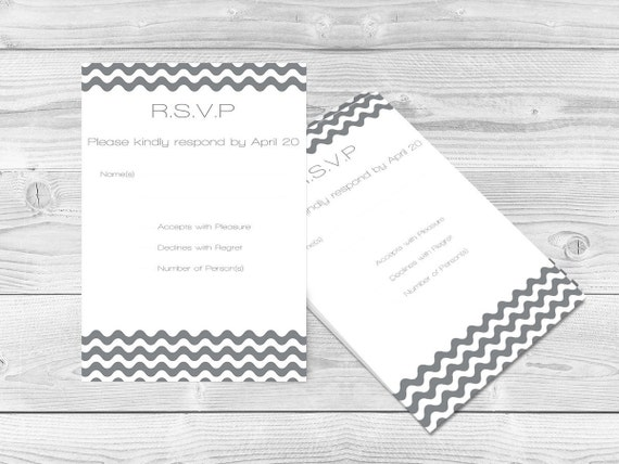 Wedding RSVP Card Template Grey Wave Chevron Printable - Rsvp card template