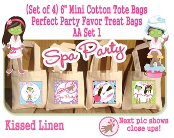 African American Spa Party Treat Favor Gift Bags Mini Cotton Totes Children Kids Girl Birthday Party Baby Bridal Shower 4 Bags