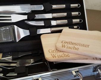BBQ grill accessories, barbecue pliers, personalized wooden board, Jausenbrett, Laser Engravin, lasercut, Gift