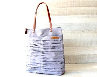 Canvas Tote Bag in Stone Grey (light grey) Zip Tote, Genuine Leather Straps, Handbag, Laptop Tote, Shoulder Bag, Diaper Bag, EXPRESS SHIP