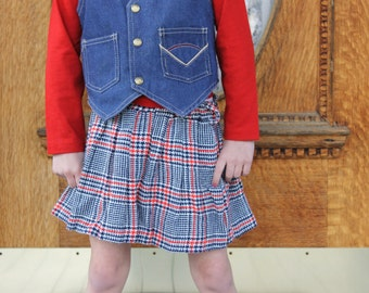 Vintage GIRLS 70s Red White & Blue Knit SchoolGirl PLAID Houndstooth Pleated A-line Mini Skirt - Size 5