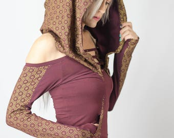 Women's Senshi Hooded Top | Hooded top | Long sleeve top | Printed top | Off the shoulder top | Burning man top | Burner sweater | Festival
