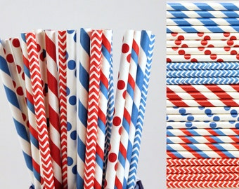 Dr. Seuss Red White and Blue Paper Straw Mix-Striped Straws-Polka Dot Straws-Chevron Straws-Birthday Party Straws-4th of July Straws