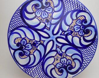Blue Wall Plate – Geometric Design