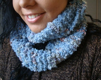 Blue Infinity Scarf or Handknit Cowl with Hints and Flecks of Colour throughout - Perfect Gift Idea