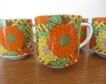 Full of charm!  Set of 4 vintage coffee mugs.