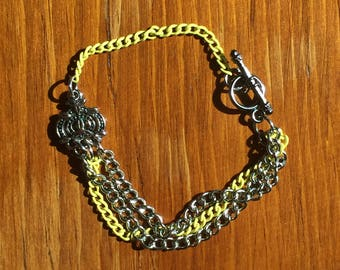 Silver and Yellow Multiple Chain Bracelet