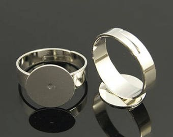 Lot of 2 support Adjustable ring, silver plated nickel free, diameter 18 mm, 12 mm tray