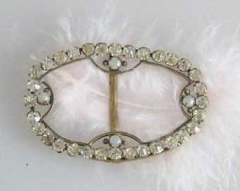 Art Deco Rhinestone Vintage Belt Buckle Signed Czechoslovakia