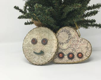Handmade Holiday Ornaments of Vintage Buttons and Artifacts