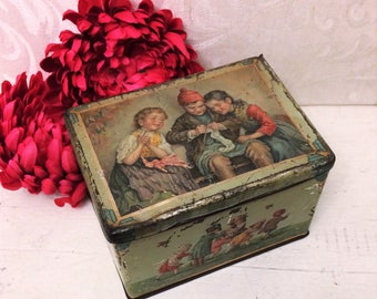 Rare Antique Tobacco Tin Box, Children Playing, c 1910, Pastel Colors, Gift for Knitter, Ring Around Rosie, Vintage Hudson Scott & Sons