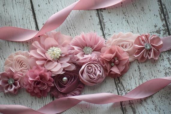 Maternity Sash, classic mauve Sash# 2,  flower Belt, maternity sash, wedding sash , flower girl sash belt